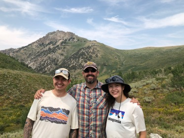 Carlton, me, and Nicole with Soldier Peak, northern Rubies, in the background